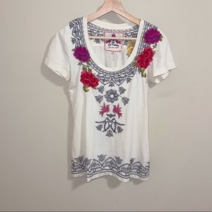Johnny Was Embroidered Floral Short Sleeve Top| S